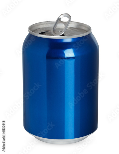Two aluminum cans, open and closed, isolated on white