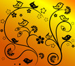 Floral Tracery with Birds, yellow background