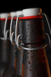 Beer bottles with vintage swing top close up