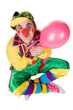 clown with a balloon in a hand isolated on a white