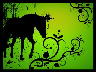 Green horse silhouette