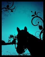 Blue night horse silhouette