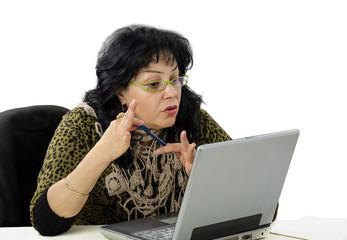 Woman is e learning teacher