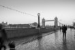 london and the tower bridge in black and white
