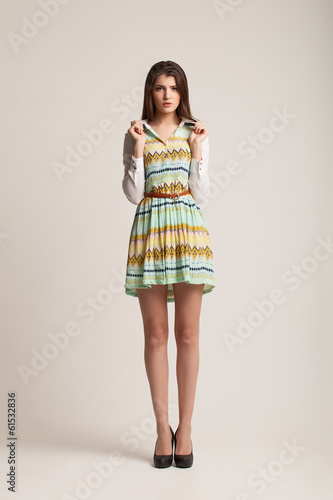 The beautiful young girl poses in studio.  Photos on a white bac