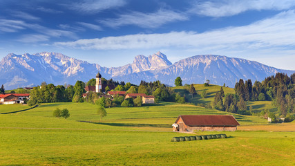 Rural village of Bavarian and Alpine Alps in Germany