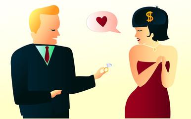 False feelings, money interested woman pretending to feel love