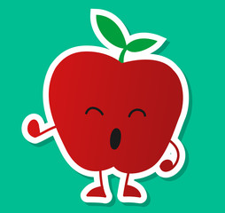 Happy Cute Apple Fruit Character