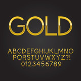 Thin Gold Font and Numbers, Eps 10 Vector