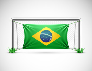 Soccer goal with flag brazil