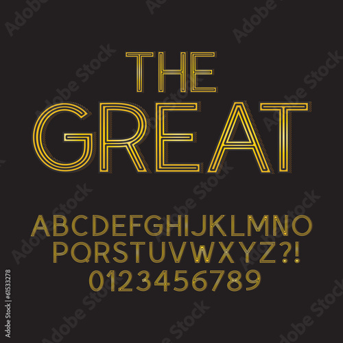 Abstract Golden Retro Font and Numbers, Eps 10 Vector