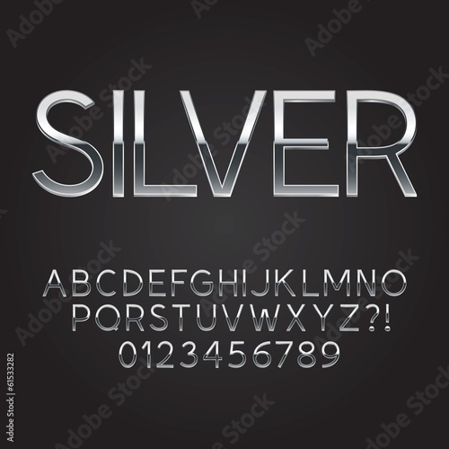 Thin Sliver Steel Font and Numbers, Eps 10 Vector
