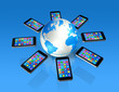 canvas print picture - Smartphones Around World Globe, Global Communication