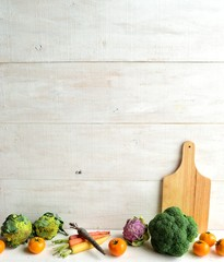 Broccoli,vegetables and cutting board
