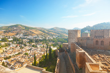 View of  Granada from wall of fortress of Alhambra