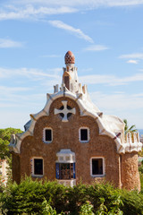 gingerbread house in Park Guell in Barcelona
