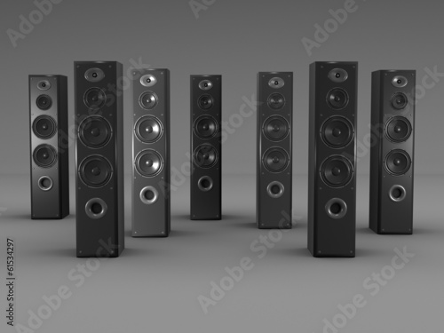 Large audio speakers on gray background