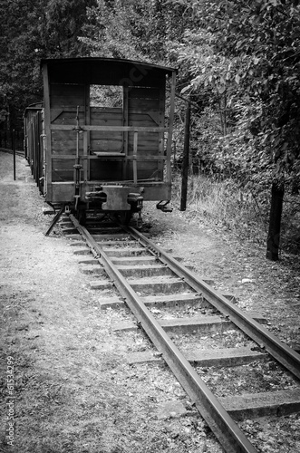 Symbolic train wagon in concentration camp Stutthof