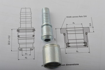 Mechanical part on its technical drawing