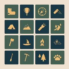 Outdoors Tourism Camping Flat Icons Set