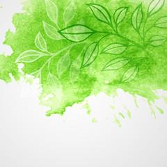 Watercolor green leaf design element. Vector illustration