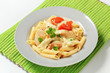 Pasta, chicken meat and cream sauce