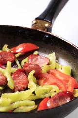 Sausage and vegetable stir fry
