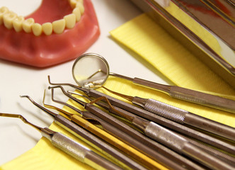 Mix of Dental tools in stomatological clinic
