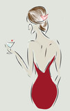 Fashion Design Sketch of a Woman with a Dress and Cocktail Glass