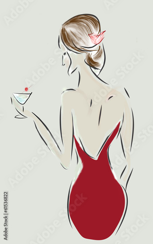 Leinwanddruck Bild Fashion Design Sketch of a Woman with a Dress and Cocktail Glass