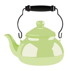 green metallic teapot in classic style