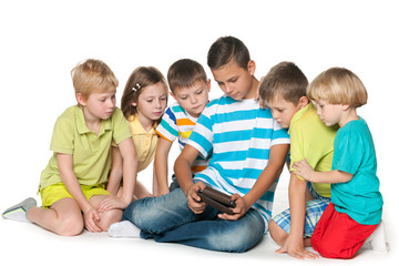 Group children with a gadget