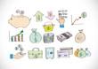 Finance and money icon set.Illustration
