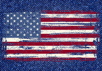 Grunge American flag on jeans background. Vector