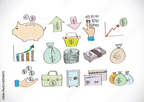 Finance and money icon set.Illustration