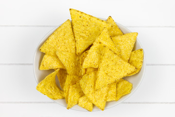 bowl filled with tortilla chips top-view