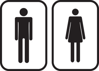 Vector Man and Woman restroom signs. Vector