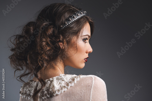 Profile of gorgeous young lady