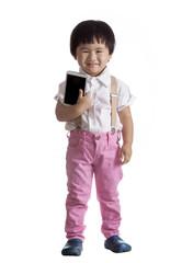 children standing against white background  holding smart phone