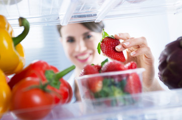 Healthy food in the refrigerator