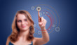 woman press key in virtual abstract hi tech background