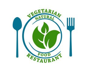 Vegetarian natural food restaurant icon