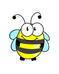 Cartoon striped little bee