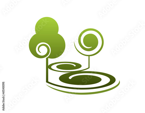 Stylised green trees in summer landscape