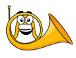 Catoon illustration of a french horn