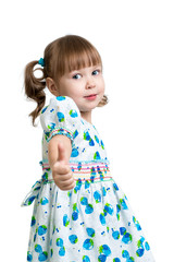 child girl showing thumbs up