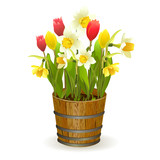 Spring flowers in a barrel