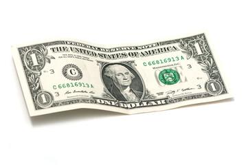 crumpled one dollar