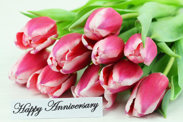 Happy Anniversary card with pink tulips