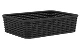 empty black bread basket isolated on white background